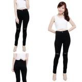 Spek Nj Nuriel Jeans Celana Jeans Wanita Denim Premium Quality Skinny High Waits Black Skinny Sobek Lutut 1 Hitam
