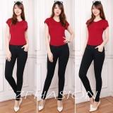 Spesifikasi Nj Nuriel Jeans Celana Jeans Wanita Denim Premium Quality Skinny Waits Pinggang Karet Warna Hitam Yang Bagus