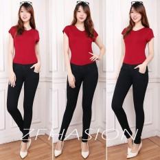 Harga Nj Nuriel Jeans Celana Jeans Wanita Denim Premium Quality Skinny Waits Pinggang Karet Warna Hitam Jeans Terbaik