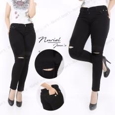 NJ Nuriel Jeans - Celana Jeans Wanita – Premium Quality – Skinny Regular – Sobek  Single Hitam