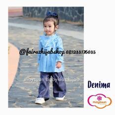 No WA 813 ( T-SEL ) 3447 - 3433, Fairuz Hijab Baju Muslim Anak Perempuan Setelan Celana Bahan Denim Warna Biru