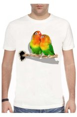 NSClothing Kaos 3D Love Bird 1  - Putih