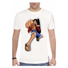 NSClothing Kaos 3D Luffy One Piece Run Putih