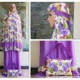 Jual Nuranitex Mukena Spandek Bunga Cantik Elegan Ungu Branded Original