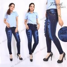 Beli Nuriel Jeans Celana Jeans Wanita Premium Quality Skinny Sobek Dongker Pakai Kartu Kredit