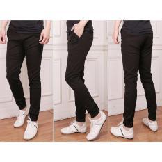 Nusantara Jeans - Celana Jogger Pant Pria Berbahan Cotton Exclusiv Ringan Halus Lembut Warna Tidak Pudar - Resleting Kuat - Hitam