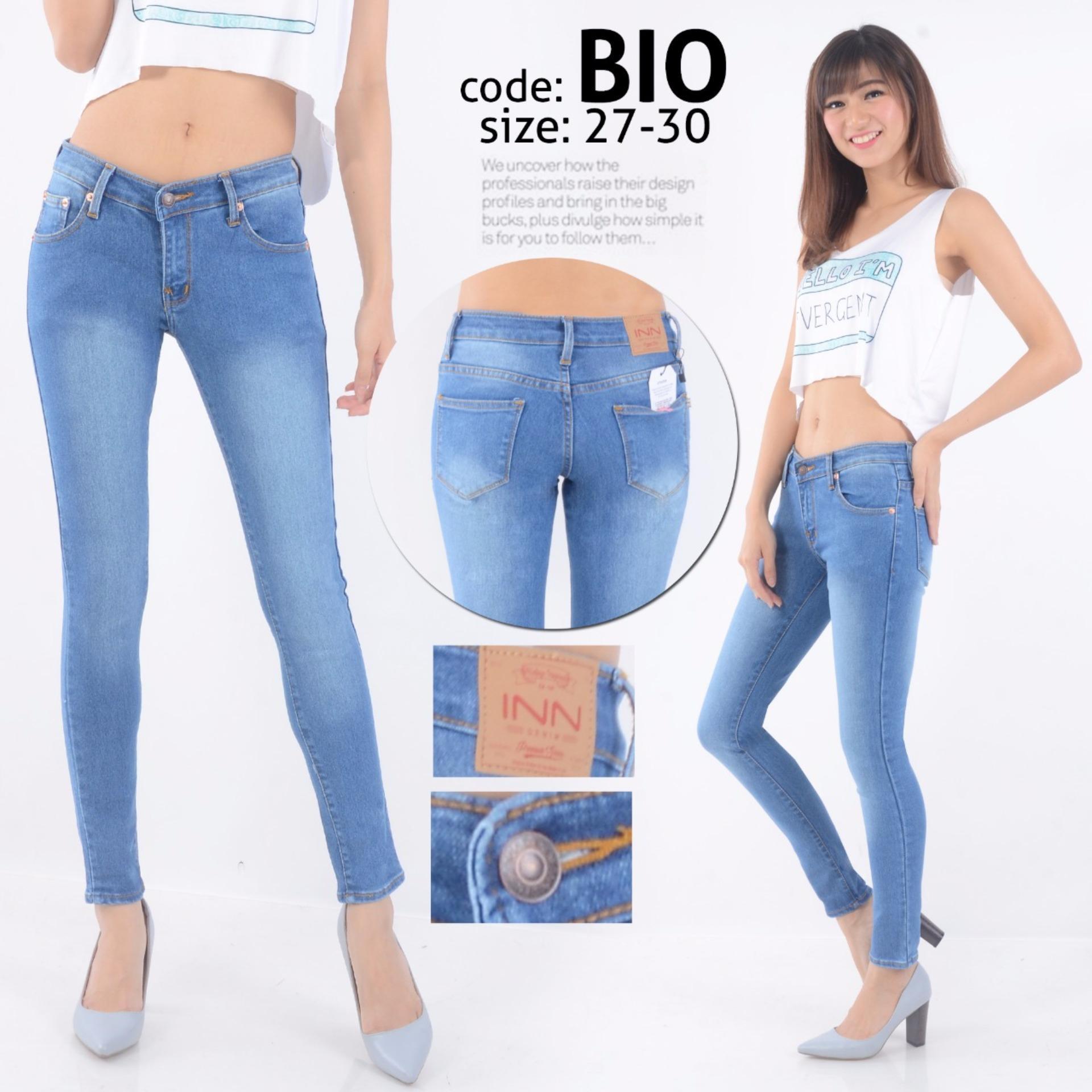 recommended Nusantara Jeans - Celana Panjang Wanita Model Skinny Berbahan Denim Street Ripped Retslting Kuat - Bio