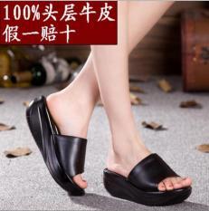 Nyaman Kulit Tahan Udara Taiwan Horizontal Sandal Wanita Bertumit Tinggi Sepatu Wanita (028 Hitam Kulit Terlalu Kecil atau Setengah yard)