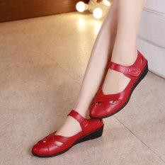 Sepatu Sandal Wanita Sol Datar Berongga Tidak Kedap Anti Selip Merah Tiongkok