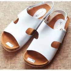 Obral Murah !!  Sendal Sandal Replika Carvil Kokop Tali Belakang Putih - Premium