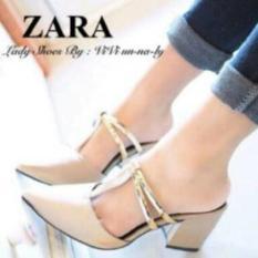 Obral Murah !!  Sendal Sepatu Wanita Kokop Good Quality Heels Replika Zara Cream - Premium