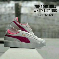 Obral Murah !!  Sepatu Wanita Murah Kets Replika Puma Rihanna Putih Lis Pink - Premium