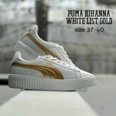 Obral Murah !!  Sepatu Wanita Olahraga Replika Puma Rihanna Putih Lis Gold - Premium