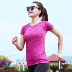 Ocean Fashion Wanita Motion Elastic Force Stripe Fitness Cepat Pengeringan Thin Run Basketball Yoga T-shirt-nya (Mawar)-International