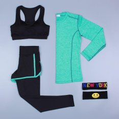 Harga Ocean Fashion Wanita Lapisan Dasar Olahraga Pakaian Tiga Piece Suit Yoga Kostum Motion Bodybuilding Leisure Hijau Intl Oem Original
