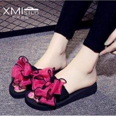 Harga Ocean Lady Slipper Butterfly Bunga Pantai Sepatu Tebal Bawah Sandal Merah Intl Fullset Murah
