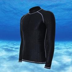 Beli Ocean Men Olahraga Pakaian Selam Tahan Air Cepat Kering Lengan Panjang Menyelam Mandi Suit Snorkeling Surfing Rashguard Abu Abu Jalur Online Terpercaya