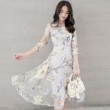 Ulasan Wanita Model Wanita Gaun Cetak High End Organza Gaun Ayun Bunga Kuning Intl