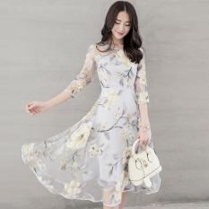 Jual Wanita Model Wanita Gaun Cetak High End Organza Gaun Ayun Bunga Kuning Intl Grosir