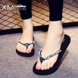 Cuci Gudang Ocean New Ladies Fashion Sandal Jepit Flat Diamond Beach Sepatu Berlian Biru Muda Intl