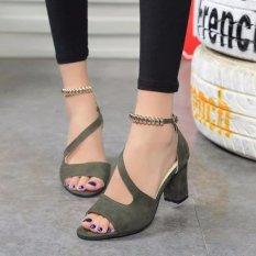 Spesifikasi Ocean New Ladies Fashion Bertumit Tinggi Sandal Yang Kata Gesper Ikan Mulut Sepatu Hijau Intl