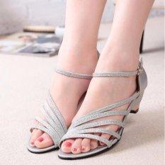 Iklan Ocean New Ladies Fashion Wedge Sandal Han Edisi Rendah Wanita Bertumit Sepatu Perak Intl