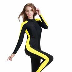 Ocean New Lady Conjoined Mandi Suit Perlindungan UV Panjang Lengan Pakaian Menyelam (kuning Hitam)-Intl