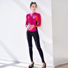 Ocean New Lady Conjoined Pakaian Menyelam Lengan Panjang Mencegah Berjemur Dalam Pakaian Renang (merah)