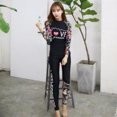 Ocean New Lady Pakaian Menyelam Fission Bathing Suit Panjang Lengan + Celana Hot Spring Mandi Suit (hitam)-Intl