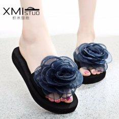 Harga Ocean New Lady S Fashion Sandal Bunga Flat Beach Sepatu Olahraga Biru Intl Lengkap