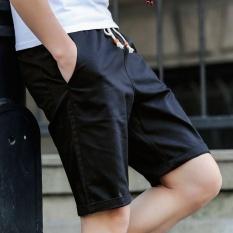 Pria Wanita Model Chino Celana Pendek Pure Cotton Leisure Knitting Remaja Motion Beach Shorts (Hitam)-Intl