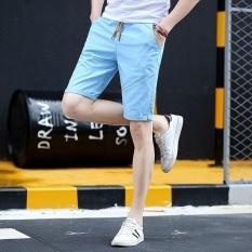 Pria Wanita Model Chino Celana Pendek Pure Cotton Leisure Knitting Remaja Motion Pantai Celana Pendek (biru Muda)-Intl