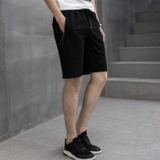 Pria Wanita Model Chino Celana Pendek Pure Cotton Leisure Knitting Remaja Motion Shorts (Hitam)-Intl