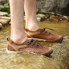Pria Outdoor Hiking Sepatu Non-slip Ventilasi Lintas Negara Motion Mesh Sepatu (Cokelat) -Intl