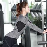 Ocean New Sports Women Shirt Panjang Lengan Elastis Motion Yoga Kostum Menjalankan Keringat Cepat Kering Bodybuilding Panas Abu Abu Intl Oem Diskon 40