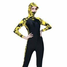 Spesifikasi Ocean New Unisex Conjoined Diving Suit Lengan Panjang Dengan Hood Kuning Hitam Intl Bagus