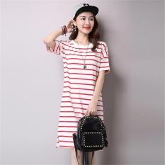 Ocean New Fashion Wanita Gaun T-shirt Han Edition Butik Lengan Pendek Garis Katun Murni (Merah)-Intl