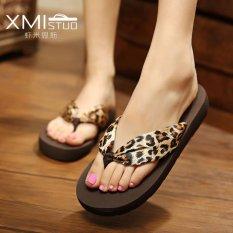 Ocean NEW Perempuan Sandal Flip-flops Bohemian Beach Sepatu (Satin Leopard Print)-Intl