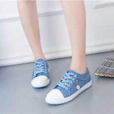 Ocean Women Baru Fashion Sneakers Jacobs Mahasiswa Sepatu CANVAS Leisure Flat Shoes (biru Muda)-Intl