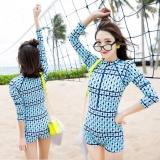Toko Ocean Women Hot Springs Konservatif Swimsuit Lengan Panjang Conjoined Swimwear Biru Muda Intl Termurah Tiongkok
