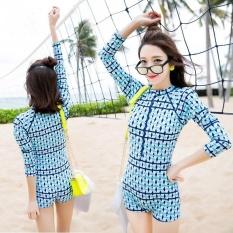 Ocean Women Hot Springs Konservatif Swimsuit Lengan Panjang Conjoined Swimwear (biru Muda)-Intl