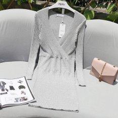 OEM BRAND Amazon D3117 2017 Rambut Baru sweater Wanita V Fashion Bag Hip sweater Panjang Gaun-Intl