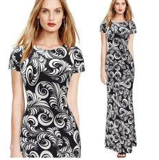OEM Musim Panas Fashion Cepat Menjual Melalui EBay Hot Hitam dan Putih Cetak Maxi Dress Long Dress