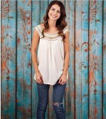OEM Wish EBay Meledak Eropa dan Amerika Serikat Musim Panas Fashion Trend Renda Lace Stitching Cotton T-shirt Putih -Intl