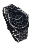 Model Oem Womens Imitasi Keramik Quartz Analog Olahraga Wrist Watch Black Jam Tangan Terbaru