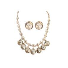 Ofashion Fine Sapphire Diamond Decorated Round Shape Jewelry Sets - Y53799 - Cream