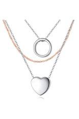 Ofashion Heart Shape Decorated Mutilayer Cuprum Necklaces - A38006 - Perak