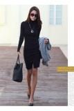 Beli Office Lady Show Slim Winter Sweater Dress All Match Bottoming Dress Black Nyicil