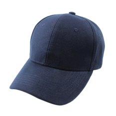 O kanvas dapat disesuaikan gaya mencuci Polo topi baseball cap biasa padat kedok Biru Laut - Internasional