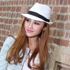 Toko Oh Topi Fedora Unisex Topi Jerami Gaya Panama Topi Trilby Packable Perjalanan Topi Matahari Putih Terlengkap Di Tiongkok